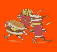 Running hamburger, coca cola and fries FAST FOOD Kids Clothes