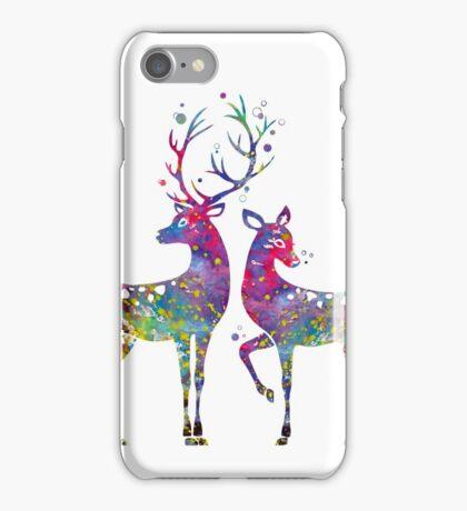 Deer Love Illustration Watercolor iPhone Case/Skin