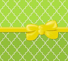 Ribbon, Bow, Moroccan Trellis - Green White Yellow by sitnica