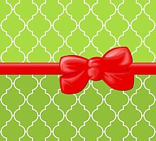 Ribbon, Bow, Moroccan Trellis - Green White Red by sitnica