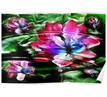 Rippled Water Lily and Bubbles Poster