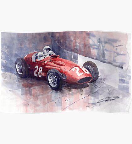 Maserati 250F GP Monaco 1956 Stirling Moss Poster