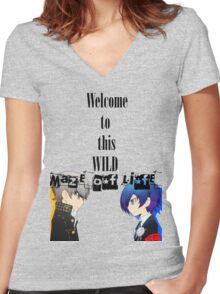 Welcom To This Wild Maze of Life - PersonaQ Women's Fitted V-Neck T-Shirt