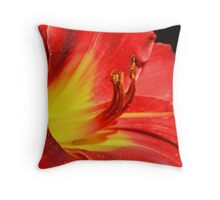 Red Tiger Lily with a Sunshine Center Throw Pillow