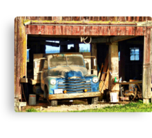 Red Barn Blue Truck Canvas Print