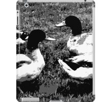 Mallard Ducks Artwork in Black, Gray and White iPad Case/Skin