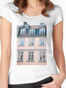 Pink Building Facade Women's Fitted Scoop T-Shirt