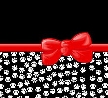 Ribbon, Bow, Dog Paws, Paw-prints - White Black Red by sitnica
