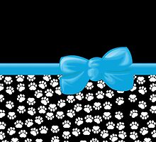 Ribbon, Bow, Dog Paws, Paw-prints - White Black Blue by sitnica