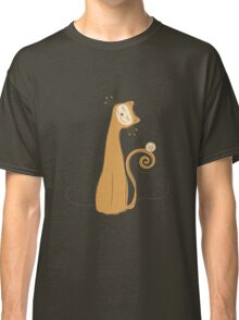 Cheerful Cat Silhouette Vector Art Classic T-Shirt