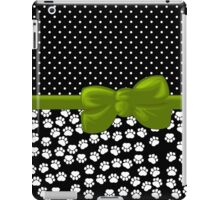 Ribbon, Bow, Dog Paws, Polka Dots - White Black Green iPad Case/Skin