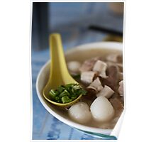 Chicken Noodles on Blue Table, Penang, Malaysia Poster