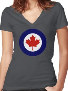 Canadian Roundel WW2 Women's Fitted V-Neck T-Shirt