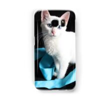 White Kitten with Blue Ribbon Samsung Galaxy Case/Skin