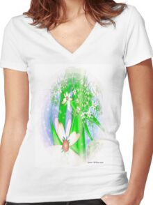 White Summer Flowers # 2 Women's Fitted V-Neck T-Shirt