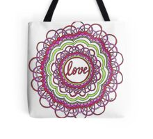 Zentangle Mandala Love Red & Green Tote Bag