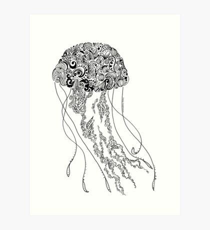 Zentangle Fine liner Jellyfish Art Print