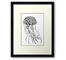 Zentangle Fine liner Jellyfish Framed Print