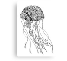 Zentangle Fine liner Jellyfish Canvas Print