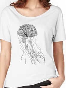 Zentangle Fine liner Jellyfish Women's Relaxed Fit T-Shirt
