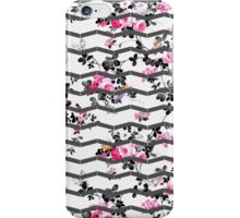 Vintage chic pink gray white floral chevron  iPhone Case/Skin