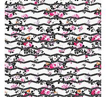 Vintage chic pink gray white floral chevron  Photographic Print
