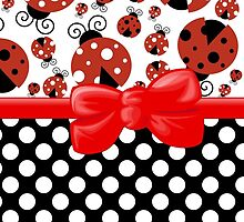 Ribbon, Bow, Ladybugs, Polka Dots - Red Black by sitnica