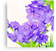 Cute purple green orchids flowers pattern  Canvas Print