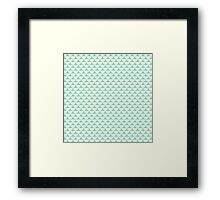 Vintage green white scallop pattern Framed Print
