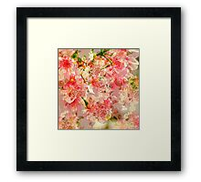 Vintage pink yellow roses floral pattern  Framed Print