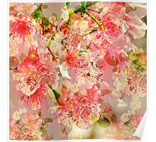 Vintage pink yellow roses floral pattern  Poster