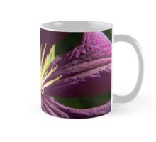 Macro blue and ruby red Clematis - flowers and leaves Mug