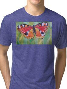 Nature. Butterfly. Original SILK painting. Tri-blend T-Shirt