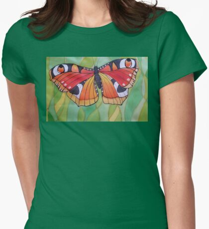 Nature. Butterfly. Original SILK painting. Womens Fitted T-Shirt