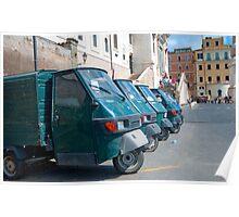 Row of Piaggio 'Ape 50s' Poster