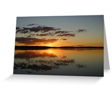 Fire in the Sky at Sunset on Tuggerah Lakes Greeting Card