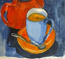 Tea in a blue cup by Evelyn Bach