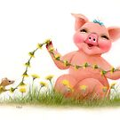 Little Pig's Bliss - Making Daisy Chains by Karen  Hull