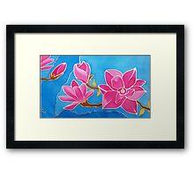 MAGNOLIA. Nature. Flower. Original SILK painting Framed Print
