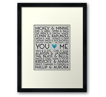 Disney Couples + You & Me Framed Print