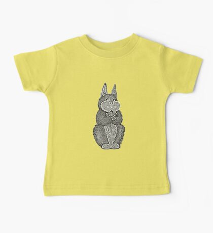 cute brown Bunny with pretty flowers illustration Baby Tee