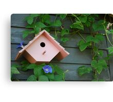 Birdhouse with Morning Glories Canvas Print