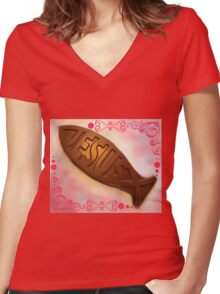 Easter Chocolate Women's Fitted V-Neck T-Shirt