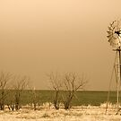 Kansas Windmill in Sepia by Suz Garten