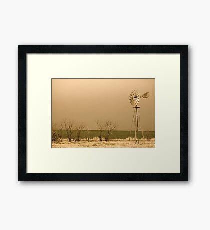 Kansas Windmill in Sepia Framed Print