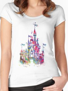 Princess Castle Watercolor Women's Fitted Scoop T-Shirt