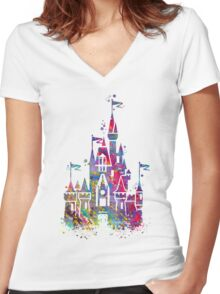 Princess Castle Watercolor Women's Fitted V-Neck T-Shirt