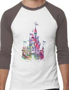 Princess Castle Watercolor Men's Baseball ¾ T-Shirt