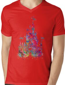Princess Castle Watercolor Mens V-Neck T-Shirt