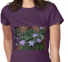 Quiet Beauty - Mauve and Purple Clematis Blossoms Womens Fitted T-Shirt